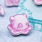 Cute pink Dumbo octopus wooden pin by Evy Benita