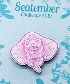 Cute baby stingray pin badge by Evy Benita