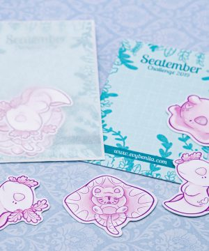 Cute sea creature sticker packs with eco friendly packaging - by Evy Benita