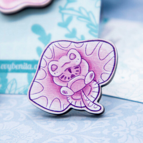 Cute illustrated baby stingray pin badge by Evy Benita