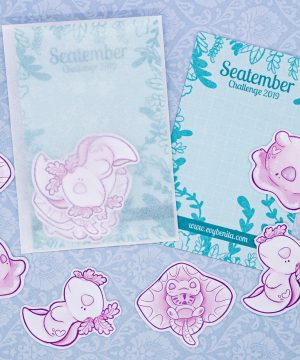 Cute illustrated sticker pack by Evy Benita, featuring six stickers of three pink sea creatures: a white albino axolotl, a baby stingray, and a Dumbo octopus.