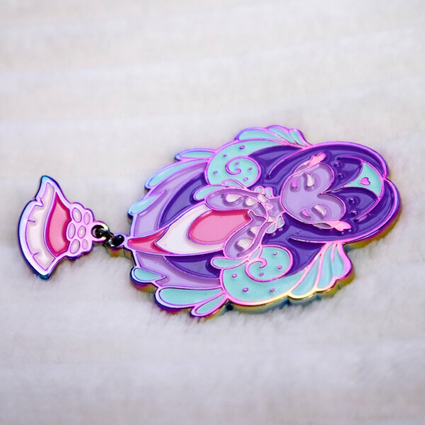 Rainbow metal-plated nudibranch mermaid enamel pin with dangle tail