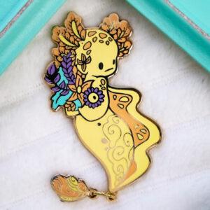 Golden axolotl mermaid enamel pin doll by Evy Benita