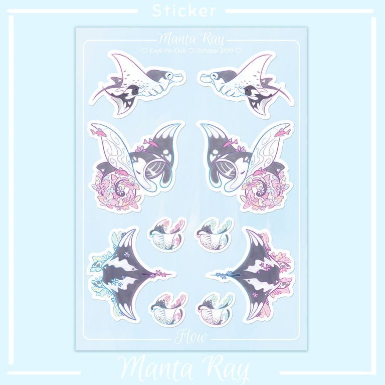 An A6 sticker sheet with illustrated manta ray stickers and floral elements.