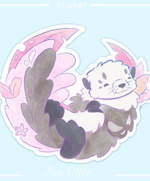 Cute die cut sticker featuring a happy sea otter