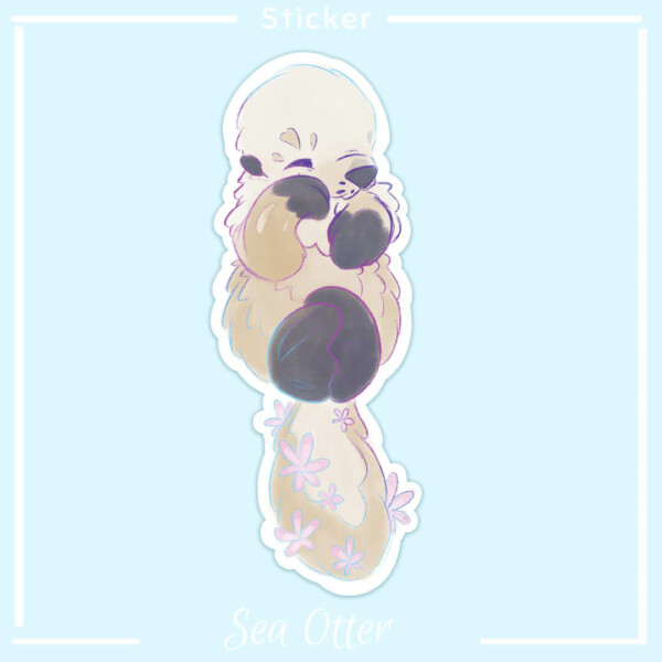 A sea otter illustration available as a cute sticker! Design by Evy Benita
