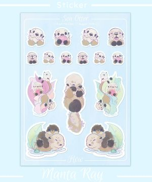 An A6 sticker sheet featuring cute sea otter illustrations.