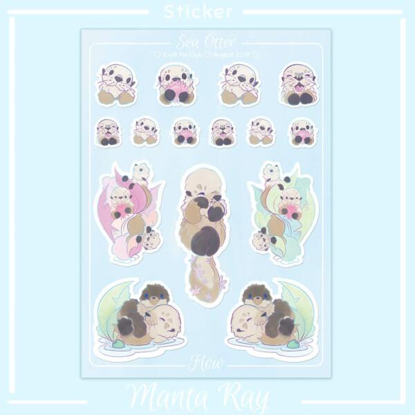 An A6 sticker sheet featuring cute sea otter illustrations.
