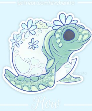 A cute sticker featuring a cartoon-style hatching baby sea turtle.