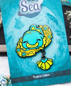 Colorful green tropical dangle-tail blobfish hard enamel pin in black nickel plating by Evy Benita
