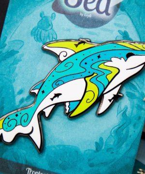 Colorful tropical pre historic marine animals hard enamel pin in black nickel plating by Evy Benita