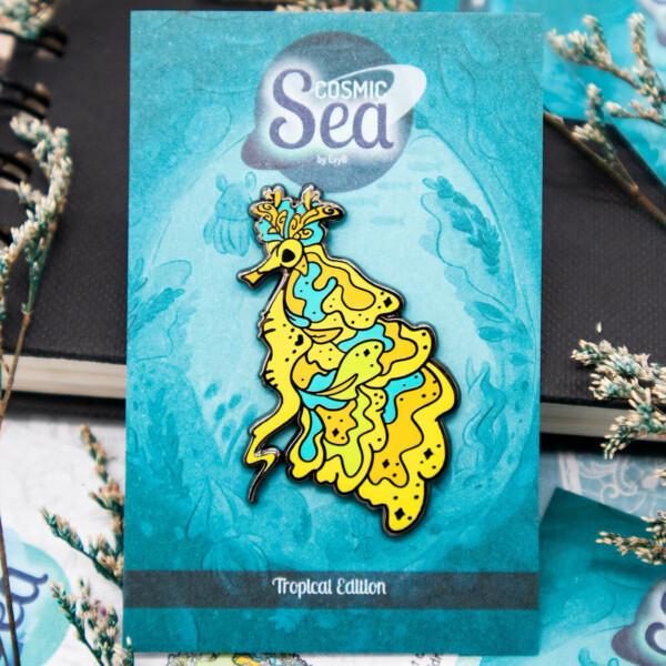Colorful tropical yellow weedy sea dragon hard enamel pin in black nickel plating by Evy Benita