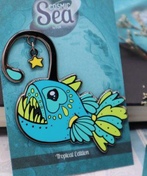 Colorful tropical deep-sea anglerfish and star hard enamel pin in black nickel plating by Evy Benita