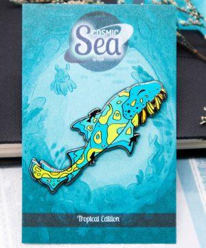 Colorful tropical wobbegong shark hard enamel pin in black nickel plating by Evy Benita