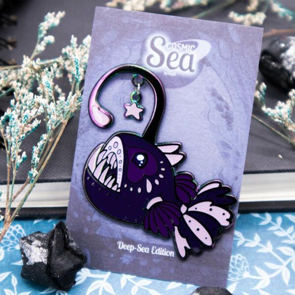 Anglerfish rainbow metal deep sea creatures enamel pin by Evy Benita