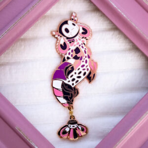 Limited Edition Harlequin Shrimp Mermaid enamel pin doll by Evy Benita