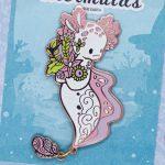 White Albino Axolotl Enamel Pin Doll by Evy Benita