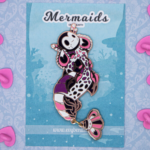 Harlequin Shrimp Mermaid enamel pin doll by Evy Benita