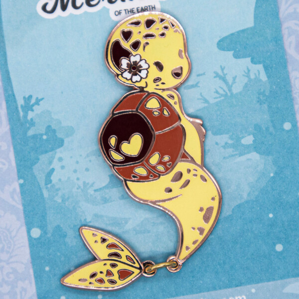 Yellow Hawksbill Sea Turtle Mermaid Species Enamel Pin by Evy Benita