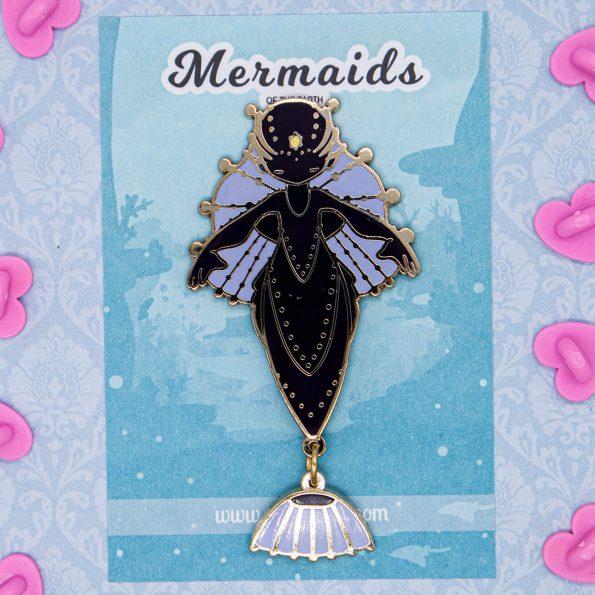 Deep-sea anglerfish fantasy mermaid enamel pins by Evy Benita