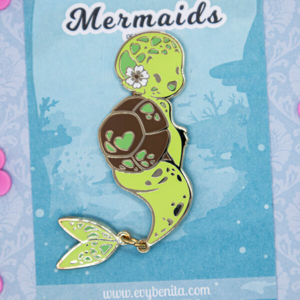 Green Sea Turtle Mermaid Species Enamel Pin by Evy Benita - Mermaids of the Earth Collection