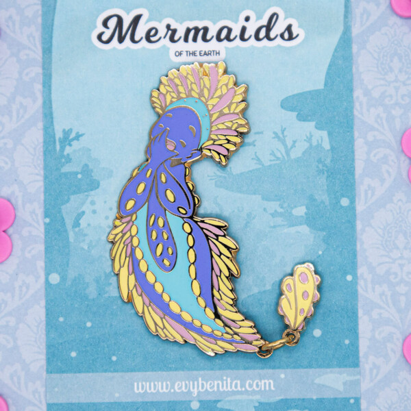 Colorful Sea Apple mermaid species enamel pin doll by Evy Benita - Mermaids of the Earth Universe