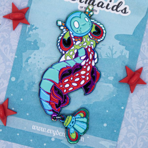 Colorful Peacock Mantis Shrimp mermaid enamel pin doll with beautiful rainbow metal plating. - By Evy Benita