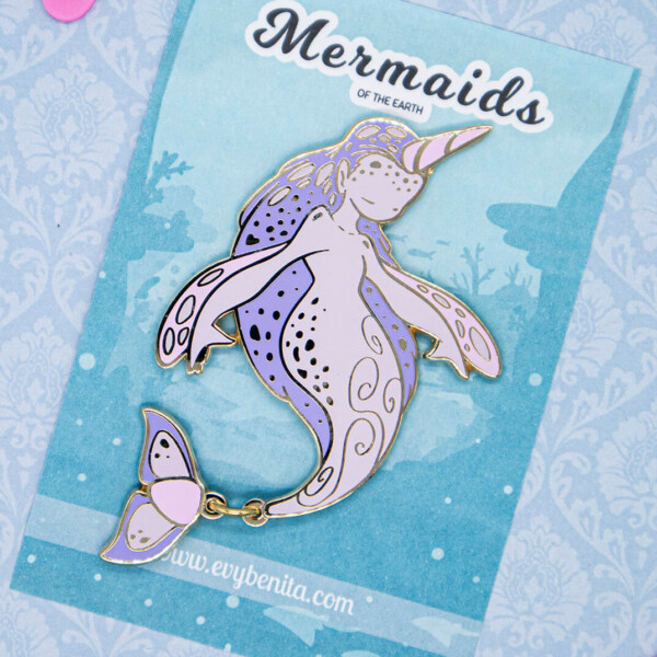 Limited Edition Rosy Narwhal Mermaid Enamel Pin Doll by Evy Benita