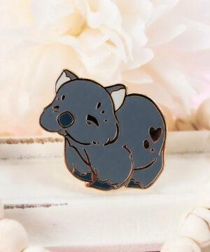 Cute Australian wombat hard enamel pin by Evy Benita