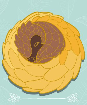 A visual representing a hard enamel pin featuring a curled-up and comfy pangolin. Gold plating and sunflower colors.