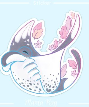 A sticker of a happy giant oceanic manta ray
