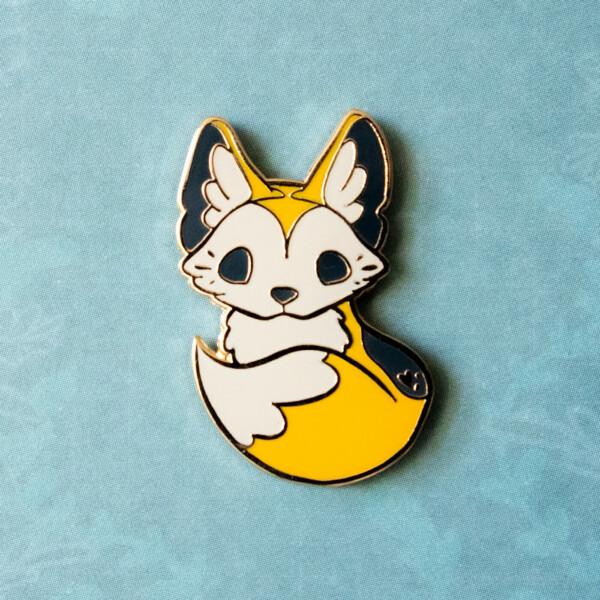 Cute dingo puppy hard enamel pin by Evy Benita