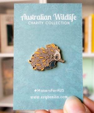 Cute Australian echidna hard enamel pin by Evy Benita