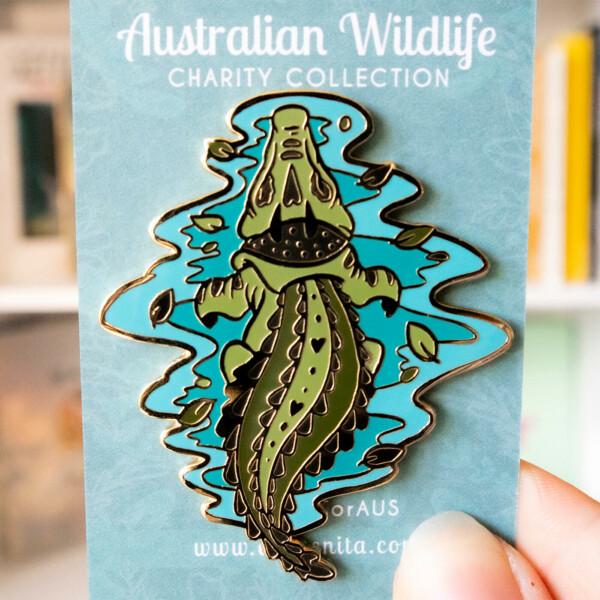 Australian saltwater crocodile enamel pin by Evy Benita