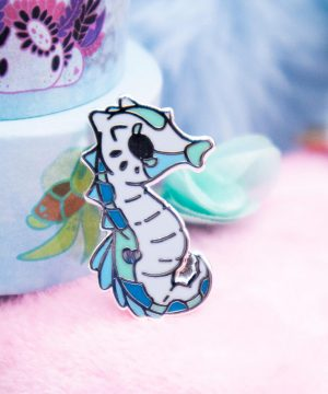 Cute baby blue seahorse enamel pin with big eyes