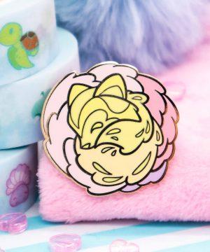 """Cute pastel tanuki (""""racoon dog"""") hard enamel pin by Evy Benita"""