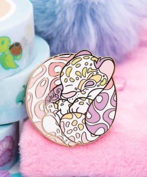 Cute pastel clouded leopard hard enamel pin by Evy Benita