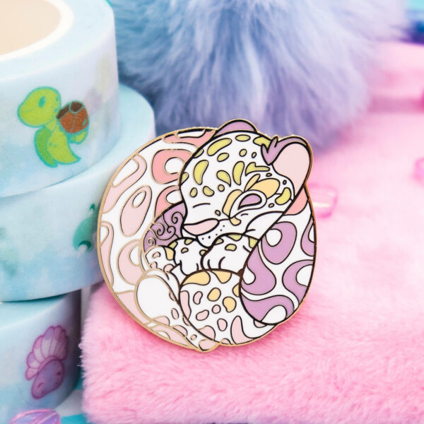 Cute pastel clouded leopard hard enamel pin by Evy Benita