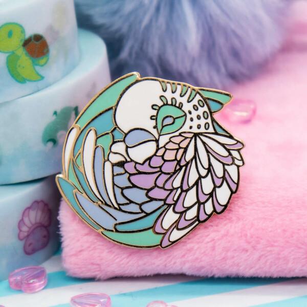 Cute pastel parakeet hard enamel pin by Evy Benita