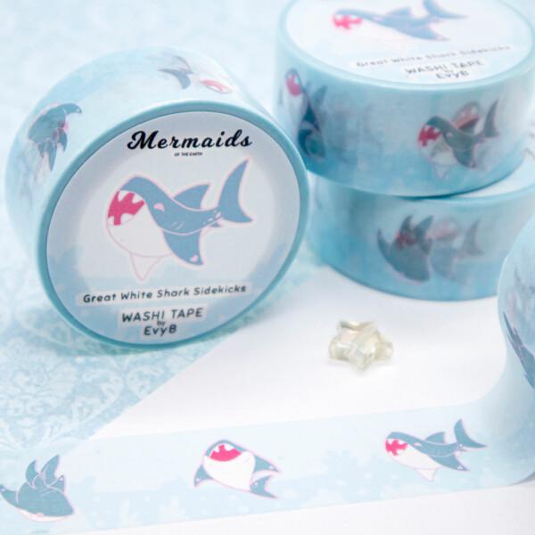 Great white shark washi tape