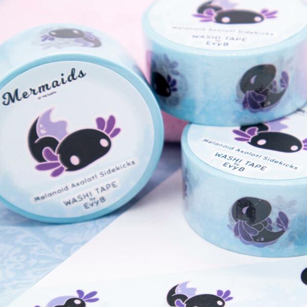 Cute black and purple melanoid axolotl washi tape by Evy Benita