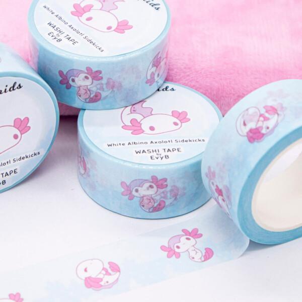 Cute white and pink albino axolotl washi tape by Evy Benita
