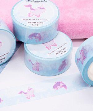 Pastel pink narwhal washi tape illustrated by Evy Benita