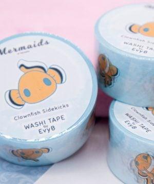 Cute kawaii clownfish washi tape illustrated by Evy Benita