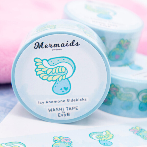 Kawaii washi tape featuring sea anemones and sea apples.