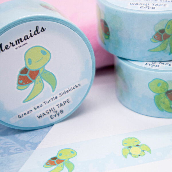 Green sea turtle washi tape by Evy Benita