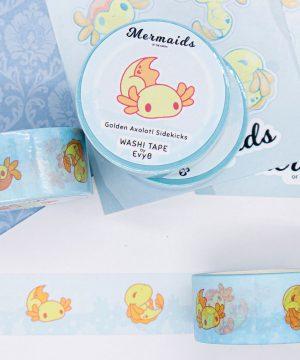 Cute yellow axolotl washi tape by Evy Benita