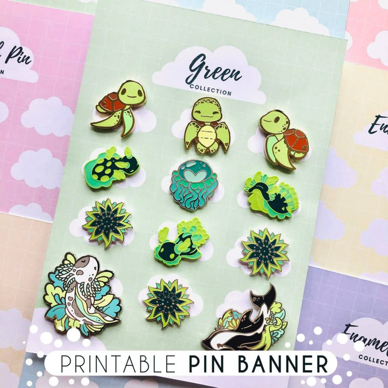 Showing a printed-out version of the printable enamel pin display banner, - with pins added onto it.