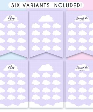 "Showing the six different variations of the product available in this listing: two banners have the title ""Enamel Pin Collection"", two have the title ""Lilac Collection"", and two have no title, so you can add your own if you want to."