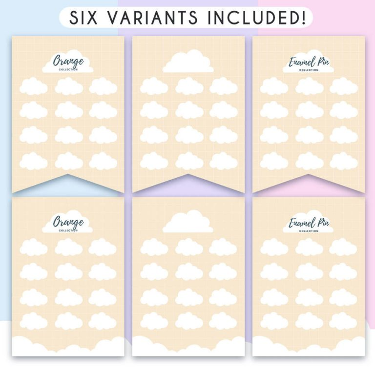 """Showing the six different variations of the product available in this listing: two banners have the title """"Enamel Pin Collection"""", two have the title """"Orange Collection"""", and two have no title, so you can add your own if you want to."""
